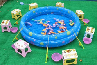 Water pool games kiddy fish pond sg super bouncing club for Fish pond game